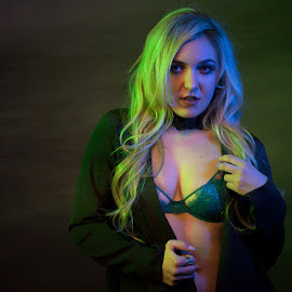 Leah by Ray Akey - Nudes & Boudoir Boudoir ( colour, glamour, studio, blonde, model, lingerie, coloured, boudoir, light, gels, portrait )