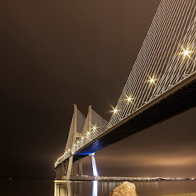 the stone by Emanuel Ribeiro - Buildings & Architecture Bridges & Suspended Structures ( lights, stone, night, bridge, lisbon, river )