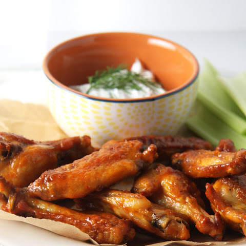 Baked Buffalo Wings with Dill Goat Cheese Dip