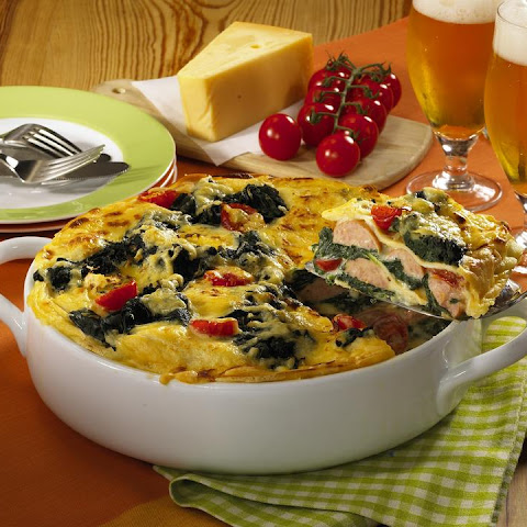 Polish Sausage and Pancake Casserole