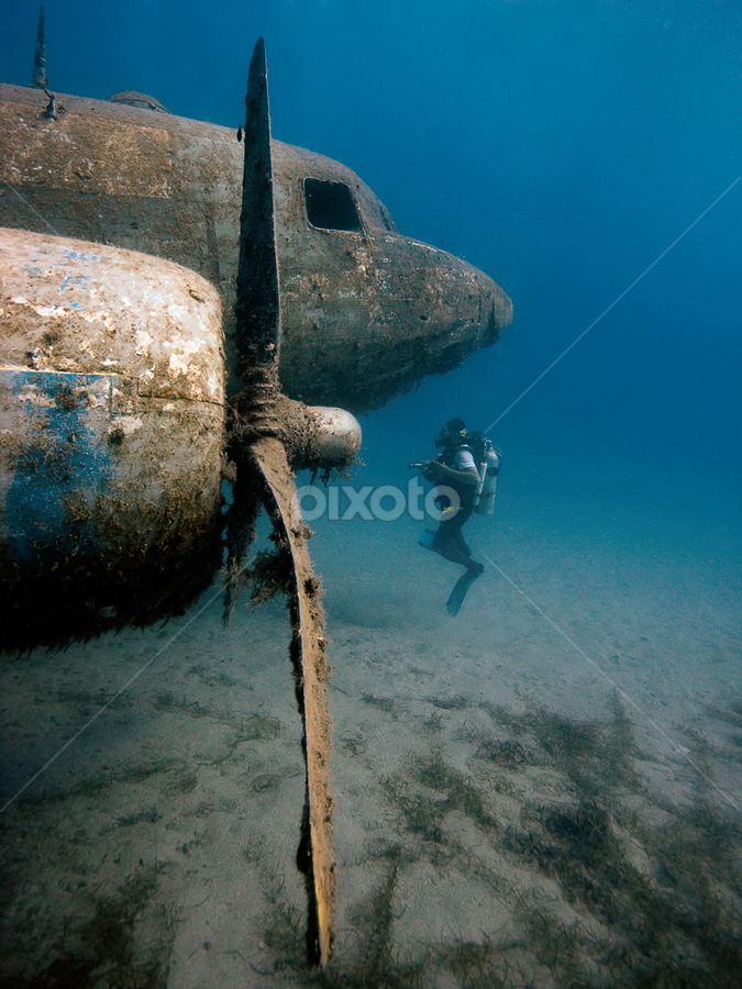 Airplane Wreck Underwater by Rico Besserdich - Transportation Airplanes