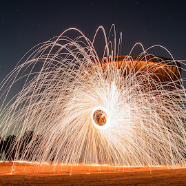 Steel wool at Al Qudra by Salman Ahmed - Abstract Fire & Fireworks ( steel wool, long exposure, fire )