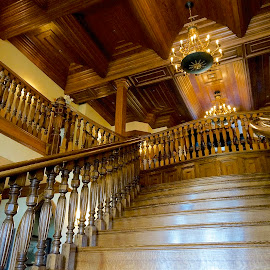 Ledson Winery by Barbara Brock - Buildings & Architecture Other Interior ( wooden staircase, interior stairway, elegant staircase, wood stairs )