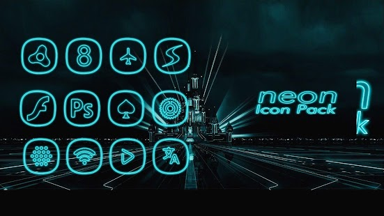 Neon icon pack ligth Blue Screenshot