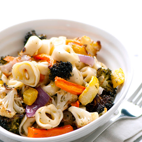 Cheese Tortellini with Garlicky Roasted Vegetables