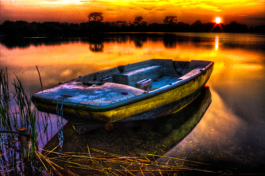 Floaty Boat by Raymon Brugman - Landscapes Waterscapes ( floaty boat water sunset hdr colors vivid )
