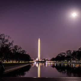 The Washington Monument with a full moon by Chad Roberts - Buildings & Architecture Statues & Monuments ( washington d.c., monuments, washington monument, night, full moon, d.c., beauty, historical,  )