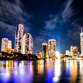 Goldcoast by Joseph Callaghan - City,  Street & Park  Vistas ( lights, goldcoast, australia, night, nightlife )