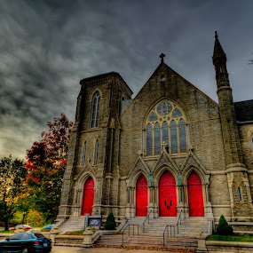 The Red Doors by Bill MacLachlan - Buildings & Architecture Places of Worship ( creepy, building, red, church, mysterious, dark, door, architecture, chapel )