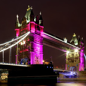 Tower Bridge - Pink for a Girl by Bill Green - Buildings & Architecture Bridges & Suspended Structures ( royal baby, london, thames, pink for a girl, tower bridge )