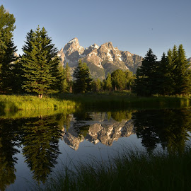 Grand Tetons from Schwabacher Landing by Craig Higgins - Landscapes Mountains & Hills ( #national parks  #sunrise  #mountains, #wyoming, #tetons )