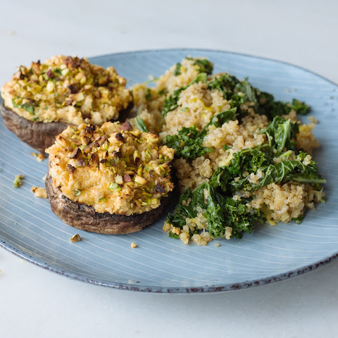Aine Carlin's Falafel stuffed mushrooms with kale & quinoa tabbouleh