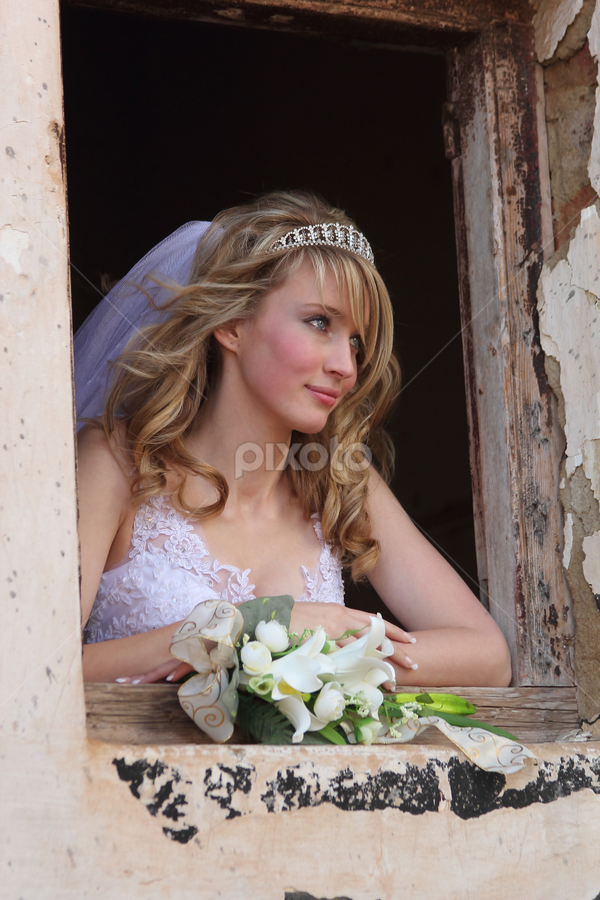 At the window by Johan Niemand - Wedding Bride ( window, wedding, dress, bride, flowers, wall )