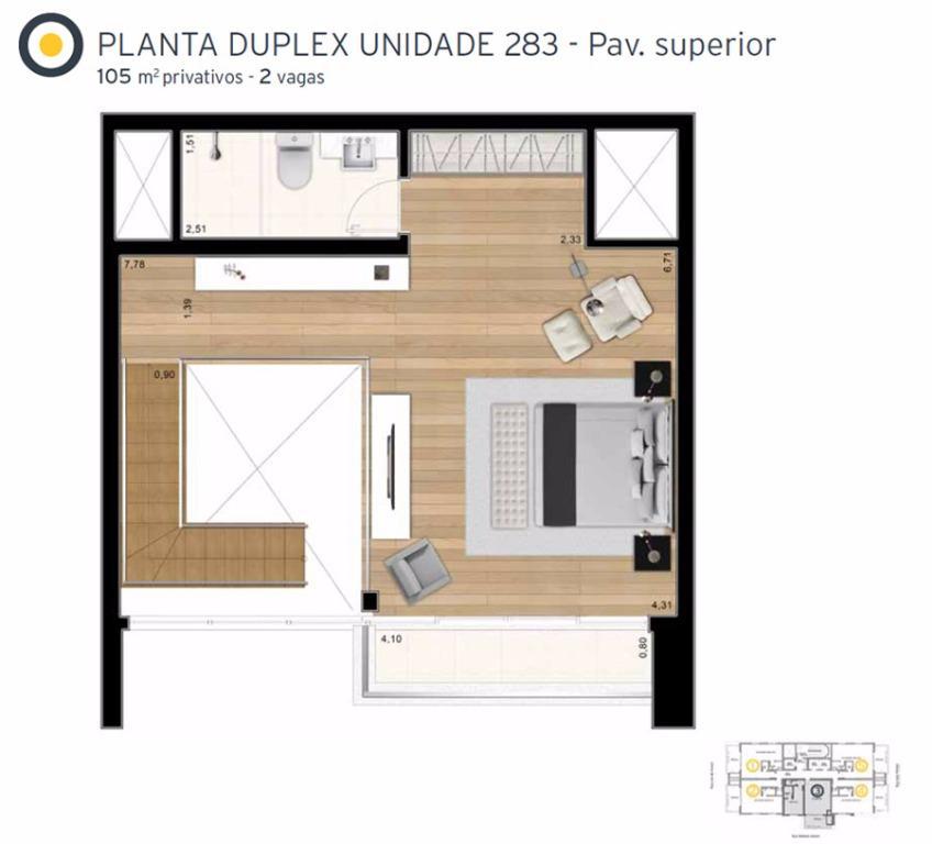 Planta Cobertura Duplex Superior Final 3 - 105 m²