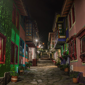 Charming Path  by Andrius La Rotta Esquivel - City,  Street & Park  Street Scenes ( charming, night photography, awesome, colorful, beautiful, street photography )