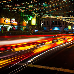 by Soumyaroop  Chatterjee  - City,  Street & Park  Street Scenes ( contrast, colour, cars, kolkata, street, christmas celebration, long exposure, light, canon 550d )