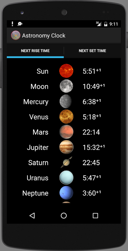Astronomy Clock Screenshot
