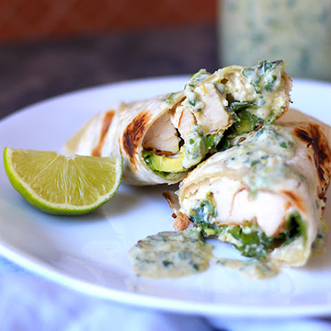Chicken Tacos with Creamy Roasted Poblano Sauce