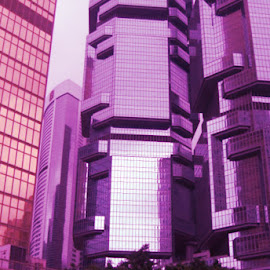 Lido Towers  by Sharmila Narwani - Buildings & Architecture Architectural Detail ( office, hong kong, building, purple, pink,  )