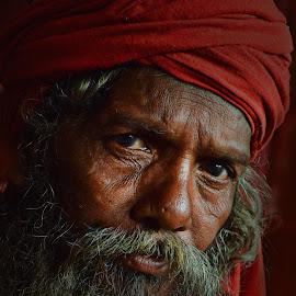 inquisitive mind by Arnab Bhattacharyya - People Portraits of Men ( monk, sage, red, naga-sadhu, indian, portrait, culture, eye )