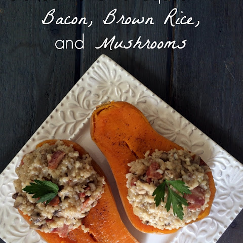 Stuffed Butternut Squash with Bacon, Brown Rice, and Mushrooms