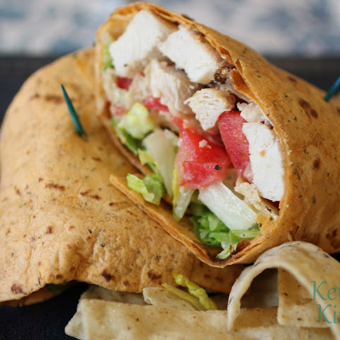 Chicken Caesar Wrap on Sundried Tomato Tortilla w/ Crunchy Tortilla Chips
