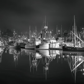 Newport Harbor Reflections by Bud Schrader - Transportation Boats ( ships, fishing village, oregon coast, black and white, newport harbor )