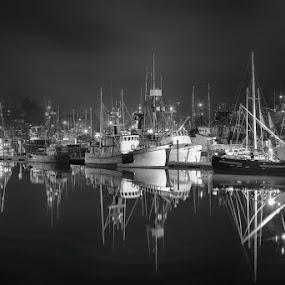 Newport Harbor Reflections by Bud Schrader - Transportation Boats ( ships, fishing village, oregon coast, black and white, newport harbor )