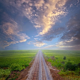 I Once Was Lost by Phil Koch - Transportation Railway Tracks ( love, trending, wisconsin, sunrise, shadow, inspirational, rural, dramatic, hope, fineart, sun, canon, beautiful, unity, joy, light, peace, season, popular, arts )
