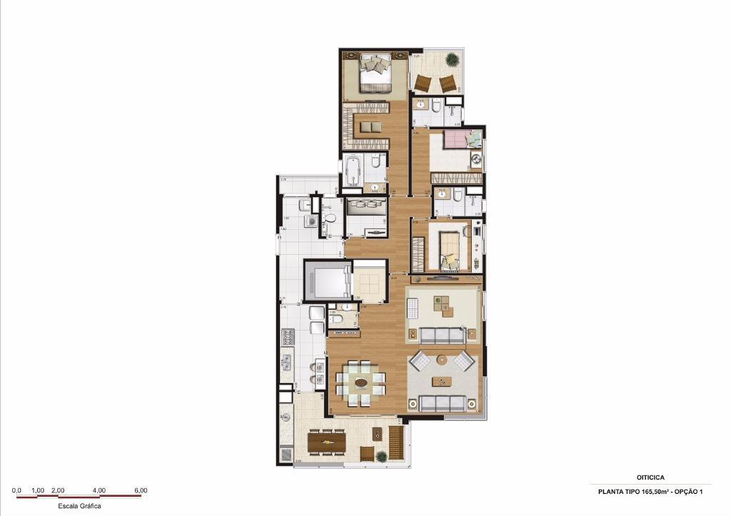 Planta Opção 1 - 165 m²