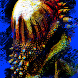 Dino Sized Headache by Dave Walters - Digital Art Abstract ( jurassic quest, dinosaur, abstract, colors, digital art )