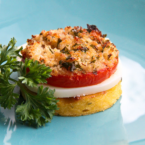 Polenta with Parmesan and Parsley, Mozzarella and Tomato