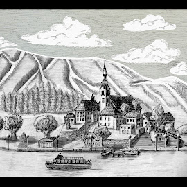 SWISS VILLAGE AND LAKE by Gerry Slabaugh - Drawing All Drawing ( ski, swiss, sketch, village, switzerland, swiss village and lake, lake, drawing )