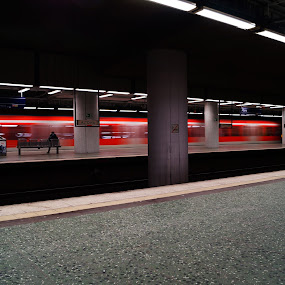 Moving underground by Sebastian Weisshaar - Transportation Trains ( sony, speed, metro, germany, blur, underground, hamburg )