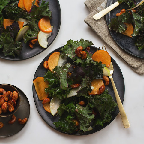 Kale Salad with Persimmons, Pears, and Sweet-Spiced Cashews
