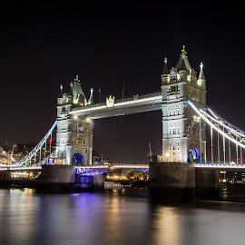 Tower Bridge by James Charlton - City,  Street & Park  Night ( london, night, thames, bridge, tower )