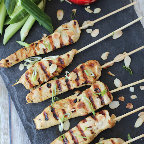 Gluten Free Chicken Satay with Thai Almond Sauce | Grilled Summer Appetizers