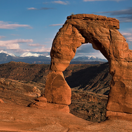 La Sal Mountain Behind delicate arch by Sushmita Sadhukhan - Landscapes Mountains & Hills ( arches national park, delicate, sunset, sand rock, la sal mountain,  )