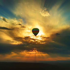 Balloon in the Sky by Eric Demattos - Transportation Other ( clouds, hot air balloon, floating, sunrise )