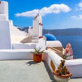 by Nikos Diavatis - Buildings & Architecture Public & Historical ( blue sky, greece, white, oia, santorini )