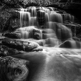 Ekalaka by Kevin Frick - Black & White Landscapes ( waterfall, black and white )