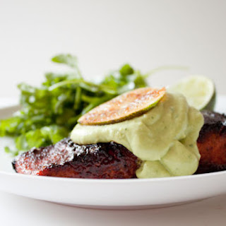 Brown Sugar Chili Rubbed Salmon with Avocado Crema
