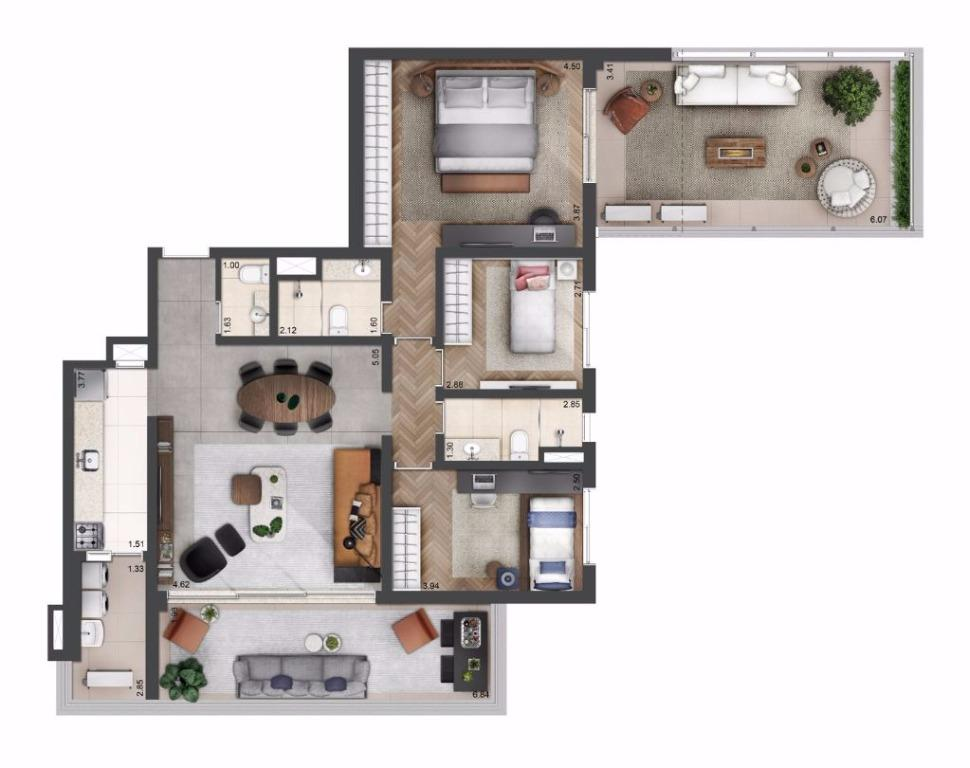 Planta Tipo - 140 m²