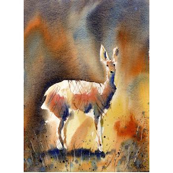 British wildlife painting deer original art