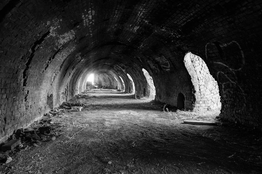 Hoffman Kiln Brick works  by Nadly Aizat Nudri - Buildings & Architecture Other Interior ( kiln, black and white, palmerston north, factory, mono, abandoned )