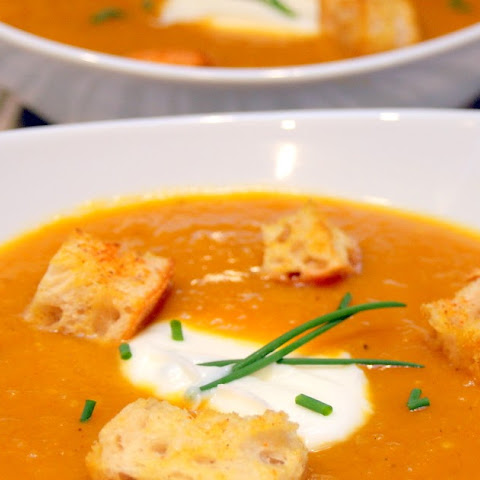 Curried Roasted Butternut Squash and Apple Soup
