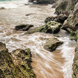 Poetry in Motion by Shauna M. Jackson - Landscapes Waterscapes ( water, sand, waves, long exposure, rocks,  )