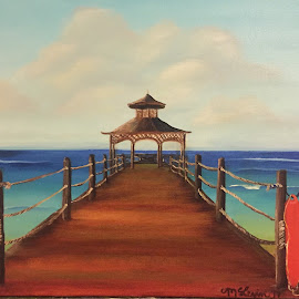 Gazebo at Sunspree  by Melanie Levin - Painting All Painting ( water, pier, oil painting, gazebo )