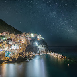 Summer night in Manarola by Dario Tarasconi - City,  Street & Park  Night