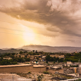 Village by Mujtaba Hassan - Landscapes Mountains & Hills ( clouds, hills, village, sunset, house )